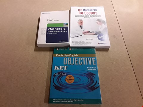 Lot 500 LOT OF 3 ASSORTED TEXT BOOKS TO INCLUDE CAMBRIDGE ENGLISH OBJECTIVE KET STUDENT'S BOOK BY ANNETTE CAPEL+WENDY SHARP, OFFICIAL CERT GUIDE VSPHERE 6 FOUNDATIONS EXAM AND OET FOR DOCTORS BY DR.M.NZE ETC