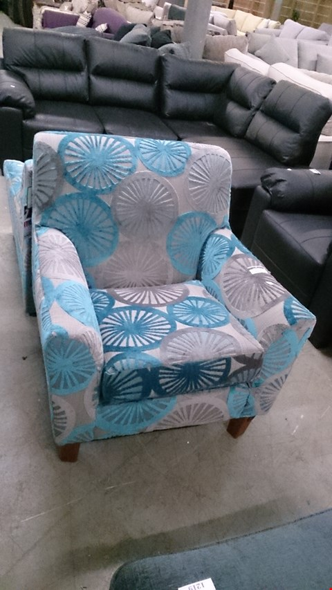 Lot 1222 DESIGNER GREY AND BLUE FABRIC ARM CHAIR