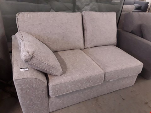 Lot 80 QUALITY DESIGNER BRITISH MADE STAMFORD GREY FABRIC TWO SEATER SECTION WITH BOLSTER CUSHION