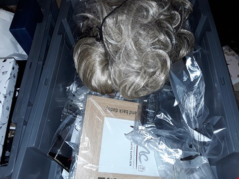 Lot 9176 A BOX OF APPROXIMATELY 15 ASSORTED ITEMS TO INCLUDE,  ASSORTED WIGS AND OLIVIQ BURTON 18KT ROSE GOLD EARRINGS ETC