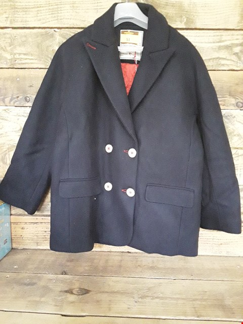 Lot 51 DESIGNER BLACK MARINA DOUBLE BREASTED COAT WITH LARGE BUTTONS AND RED DETAILING IN THE STYLE OF ZADIG & VOLTAIRE SIZE L