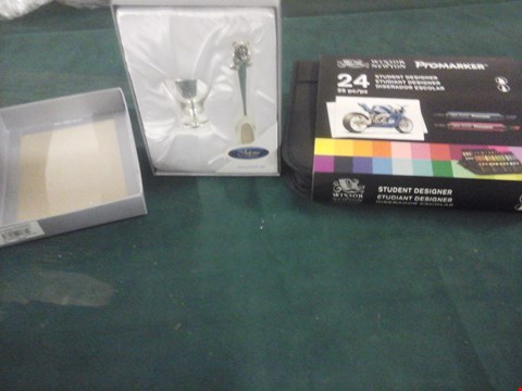 Lot 1073 BOXED THE JULIANA COLLECTION CHRISTENING SPOON & CUP AND WINSOR & NEWTON PROMARKER STUDENT DESIGNER