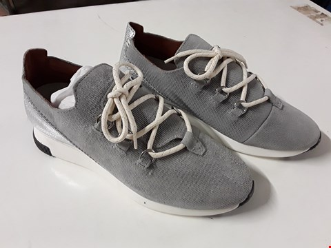 Lot 10 PAIR OF HUDSON SEVILLE TRAINERS IN GREY SUEDE - SIZE UK 4