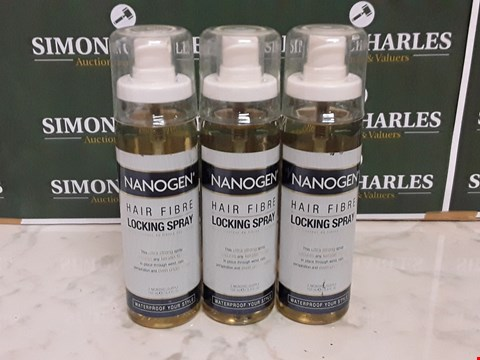 Lot 12077 LOT OF 3 NANOGEN STYLE 100ML HAIR FIBRE LOCKING SPRAYS