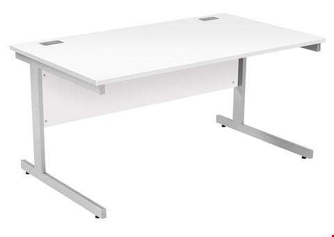 Lot 9518 BRAND NEW BOXED FRACTION PLUS RECTANGULAR 160 DESK - WHITE WITH WHITE FRAME