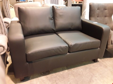 Lot 520 DESIGNER BLACK FAUX LEATHER TWO SEATER SOFA
