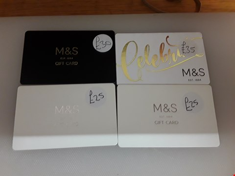 Lot 62 4 ASSORTED M & S GIFT CARDS TOTAL VALUE £115