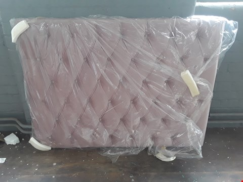 Lot 11027 WRAPPED PINK CRUSHED VELVET BUTTON BACK HEADBOARD APPROXIMATELY 136CM X 100CM