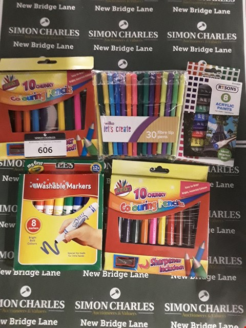 Lot 606 LOT OF 6 ASSORTED ITEMS TO INCLUDE A PACK OF WASHABLE MARKERS, A PACK OF WILKO FIBRE TIP PENS, A PACK OF RYSONS ACRYLIC PAINTS ETC