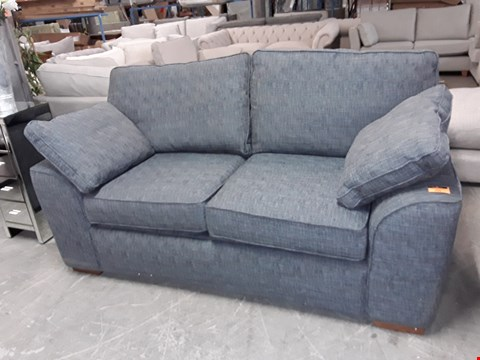 Lot 255 QUALITY BRITISH DESIGNER BLUE GREY WEAVE FABRIC 2 SEATER METAL ACTION SOFA BED