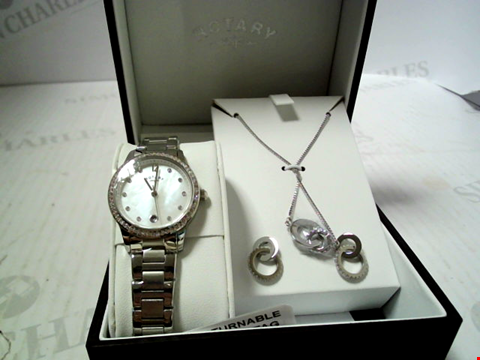 Lot 5520 ROTARY MOTHER OF PEARL AND SWAROVSKI DATE DIAL STAINLESS STEEL BRACELET LADIES WATCH WITH NECKLACE AND EARRINGS GIFT SET RRP £329.00