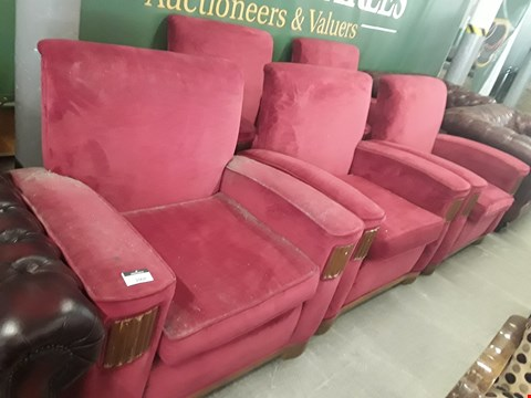 Lot 232 LOT OF 5 RED VELOUR EFFECT ARMCHAIRS WITH WOODEN DETAIL