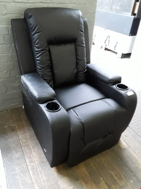 Lot 83 DESIGNER OSCAR BLACK LEATHER PUSH BACK RECLINING EASY CHAIR RRP £300