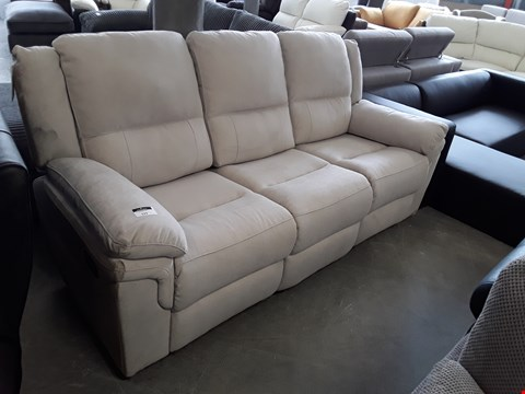 Lot 129 DESIGNER PALE GREY FABRIC MANUAL RECLINING 3 SEATER SOFA