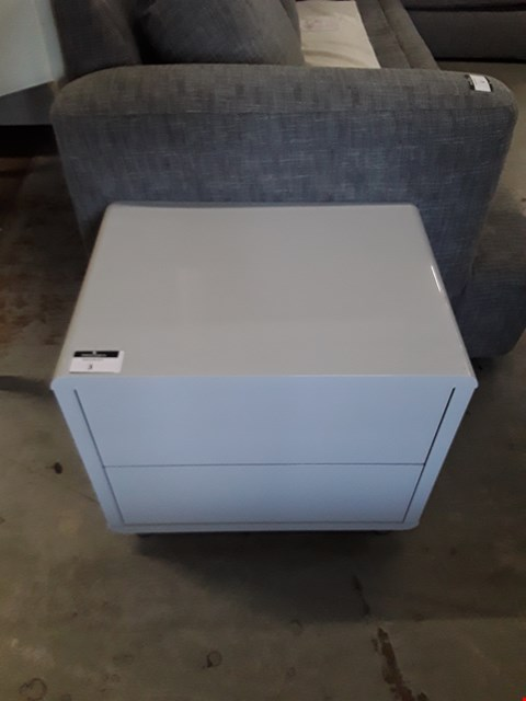 Lot 3 DESIGNER GLOSS GREY 2 DRAWER BEDSIDE CABINET