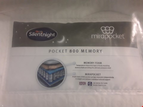 Lot 317 DESIGNER BAGGED 135CM SILENTNIGHT MIRAPOCKET POCKET 800 MEMORY MATTRESS