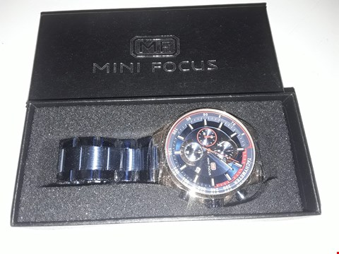 Lot 877 BOXED DESIGNER CHRONOGRAPH WRIST WATCH IN THE STYLE OF MF MINI FOCUS