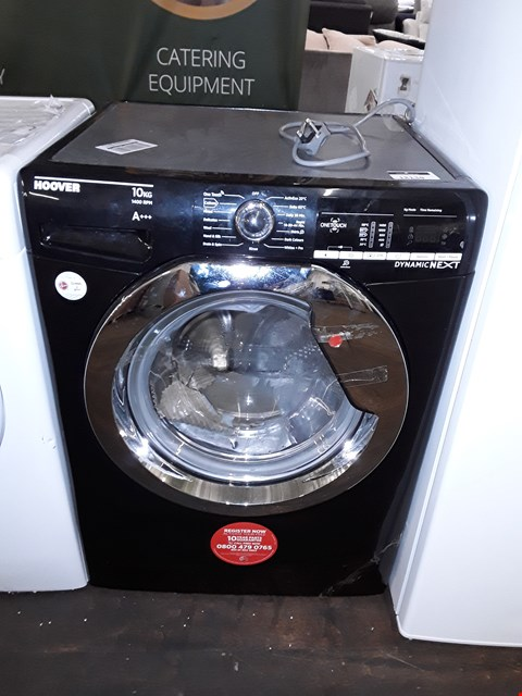 Lot 12138 HOOVER DYNAMIC NEXT 10KG 1400 SPIN WASHING MACHINE IN BLACK WITH ONE TOUCH - DXOA410C3B