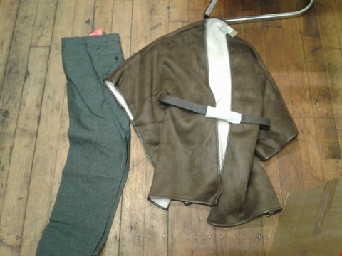 Lot 36 A BOX OF APPROXIMATELY 6 ASSORTED ITEMS TO INCLUDE A PAIR OF GREY TROUSERS SIZE W32 AND A 70'S GLAM BROWN JACKET SIZE MEDIUM