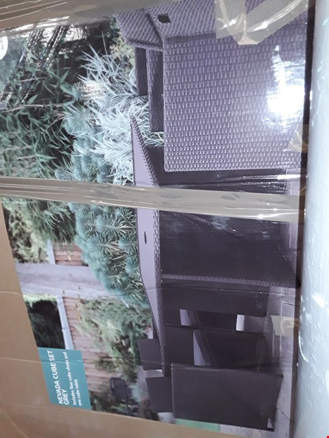 Lot 5061 NEVADA GREY RATTAN 4 SEAT CUBE SET (BOX 1 OF 2 TABLE ONLY)