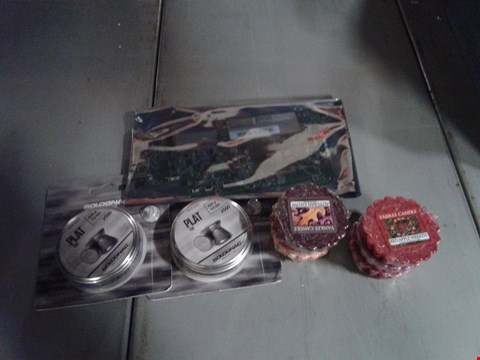 Lot 8093 BOX OF ASSORTED ITEMS TO INCLUDE - 4.5 AIR RIFLE PLATS - YANKEE CANDLE MELTS -LAP TOP MOTHERBOARD