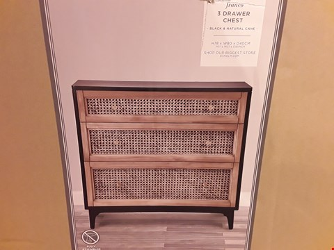 Lot 529 BOXED FRANCO 3-DRAWER CHEST