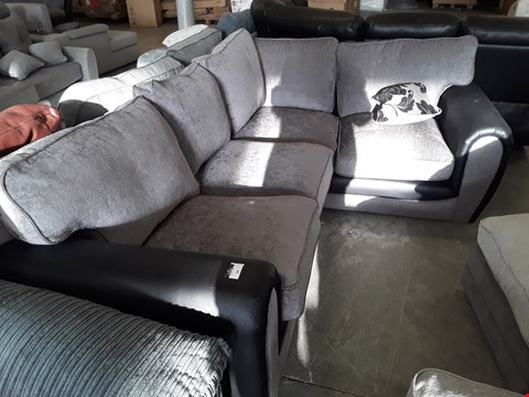 Lot 54 DESIGNER BLACK FAUX LEATHER & GREY FABRIC CORNER SOFA