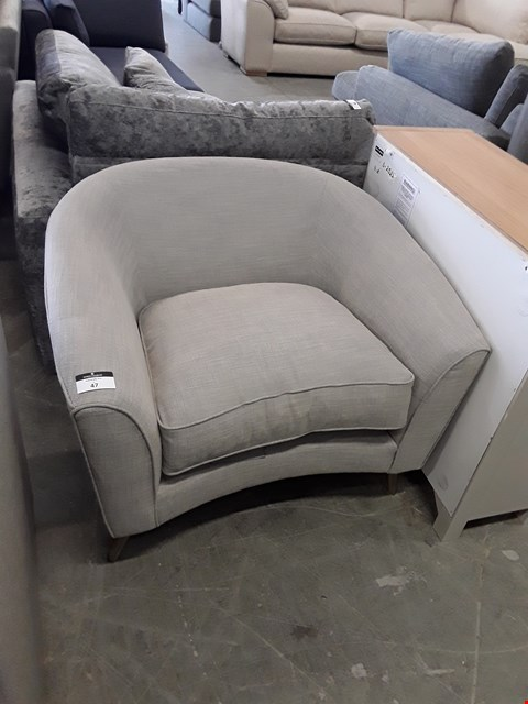 Lot 47 QUALITY BRITISH DESIGNER GREY FABRIC CURVED FRONT TUB CHAIR