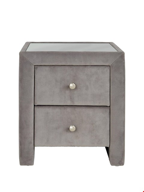 Lot 3034 BRAND NEW BOXED GREY FAUX SUEDE BEDSIDE TABLE (1 BOX) RRP £99