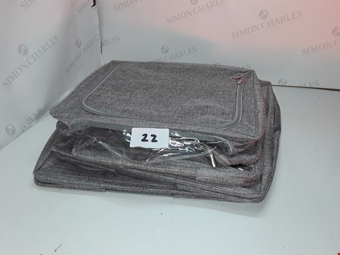 Lot 22 PERIEA SET OF  SMALL & MEDIUM LINEN LOOK GREY STORAGE BOXES