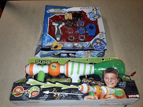 Lot 6138 LLT OF 2 ITEMS TO INCLUDE A PUMP ACTION SLIME BLASTER GUN AND A STORM GYRO PACK
