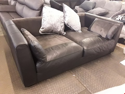 Lot 374 DESIGNER BLACK LEATHER THREE SEATER SOFA
