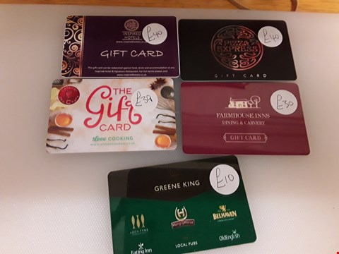 Lot 65 5 ASSORTED GIFT CARDS TO INCLUDE GREEN KING, FARMHOUSE INNS, AT L'ATELIER DES CHEFS , PIZZA EXPRESS AND INSPIRED HOTEL TOTAL VALUE £159