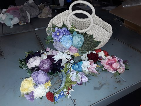 Lot 2144 WOVEN FLORAL BASKET AND FAKE FLOWERS