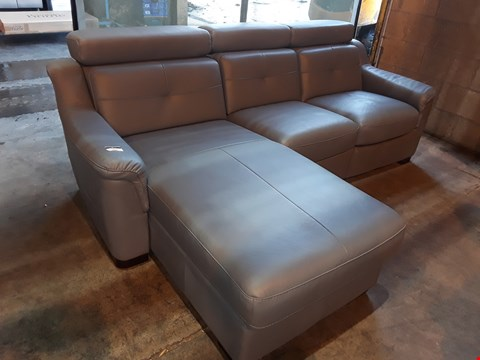 Lot 1002 DESIGNER KLER STEEL GREY LEATHER THREE SEATER CHAISE SOFA WITH RECLINER END SECTION & ADJUSTABLE HEADRESTS