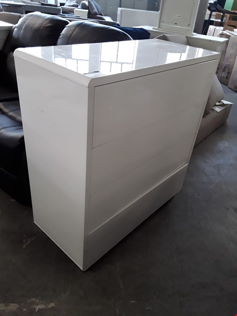 Lot 331 DESIGNER WHITE GLOSS 4 DRAWER CHEST