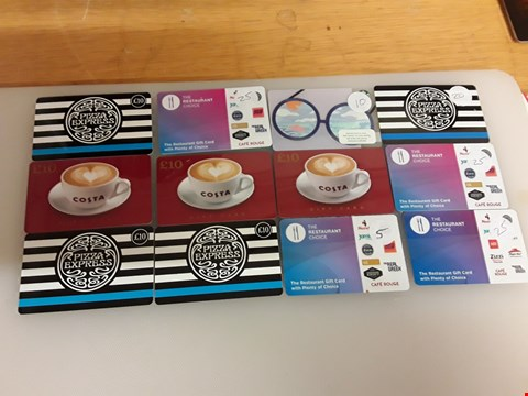 Lot 33 12 ASSORTED GIFT CARDS TO INCLUDE PIZZA EXPRESS, COSTA, STARBUCKS AND THE RESTAURANT TOTAL VALUE £170