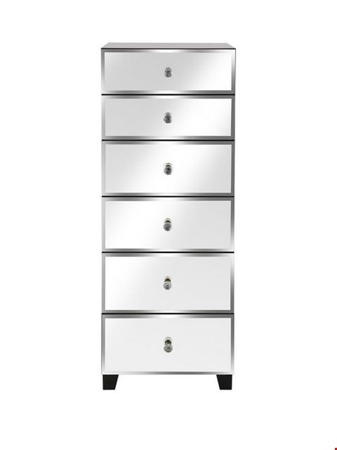 Lot 2009 BOXED GRADE 1 BELLAGIO WHITE AND MIRRORED 6-DRAWER NARROW CHEST (1 BOX) RRP £179