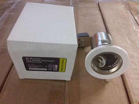 Lot 3027 BOX OF 20 BRAND NEW SATIN CHROME GU10 FIXED FIRE RATED DIE-CAST DOWNLIGHT