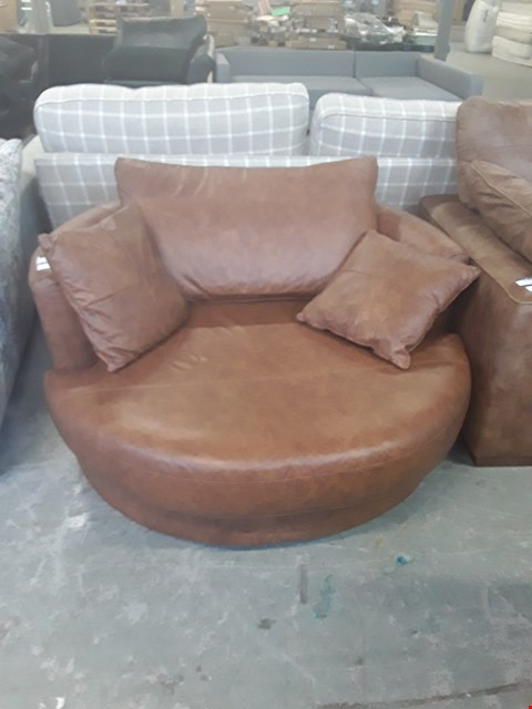 Lot 4 QUALITY BRITISH DESIGNER BROWN LEATHER SWIVEL SNUGGLE CHAIR