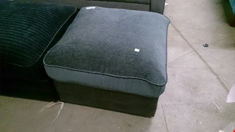 Lot 1218 DESIGNER GREY SUEDE AND FABRIC FOOTSTOOL