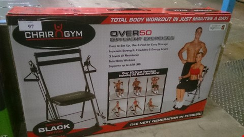Lot 97 BOXED CHAIR GYM WITH 50 GREAT EXCERCISESAS SEEN ON TV