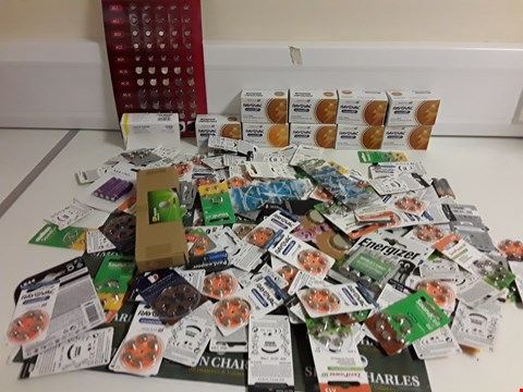 Lot 1184 BOX OF APPROXIMATELY 150 ASSORTED HEARING AID BATTERIES ETC
