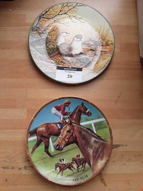 Lot 20 TWO COLLECTORS PLATES, ROYAL WORCESTER RED RUM FROM GREAT RACEHORSE SERIES & ROYAL DOULTON OTTER PAIR ON RIVER BANK WITH CERTIFICATE