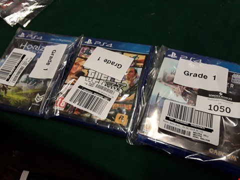 Lot 1050 LOT OF THREE PS4 GAMES TO INCLUDE HORIZON ZERO DAWN, GTA V AND MONSTER HUNTER WORLD