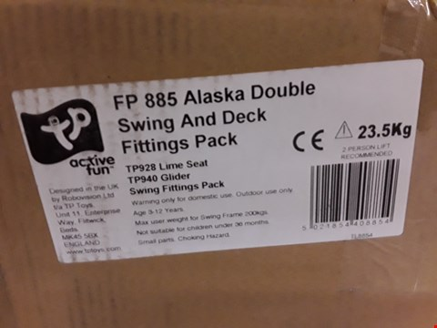 Lot 7122 BOXED TP ALASKA WOODEN DOUBLE SWING & DECK FITTING KIT RRP £507