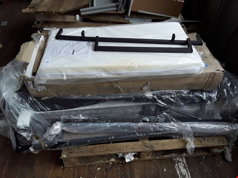 Lot 116 PALLET OF ASSORTED BED FRAME PARTS TO INCLUDE OBABY COT MATTRESS