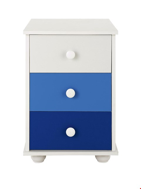 Lot 1096 BRAND NEW BOXED NEW METRO 3-DRAWER BLUE AND WHITE BEDSIDE CABINET (1 BOX) RRP £49