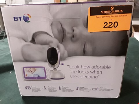 Lot 220 BT VIDEO BABY MONITOR 6000 RRP £165.00