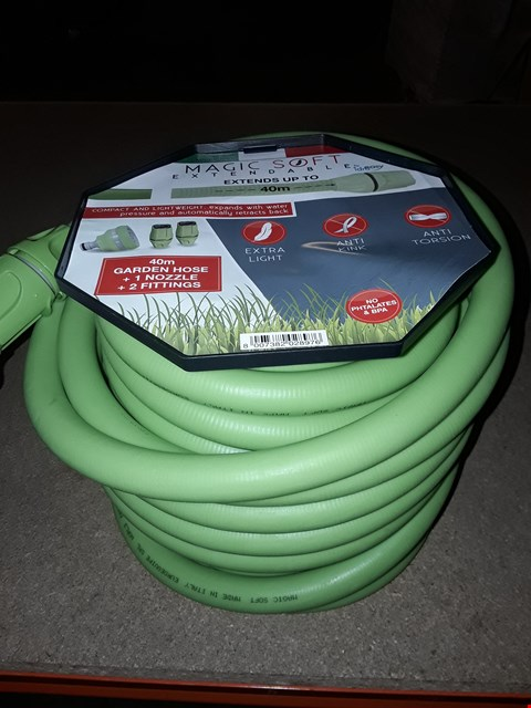 Lot 13846 LOT OF 2 MAGIC SOFT EXTENDABLE 40M GARDEN HOSE